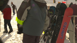 HD2009-1-5-21 ski hill snowbaords waiting Stock Video Footage