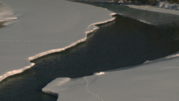 HD2009-1-6-13 river and ice footprints Stock Video Footage
