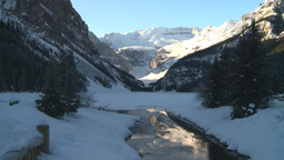 HD2009-1-6-17 Lake Louise and creek icon shot Stock Video Footage