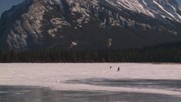 HD2009-1-6-29 kite skiers lake Mt Rundle Footage
