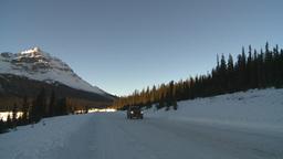 HD2009-1-8-17 snow mtn highway car Stock Video Footage