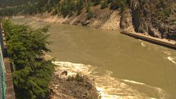 HD2009-7-1-11b hells gate canyon fish rapid and bridge pan Stock Video Footage