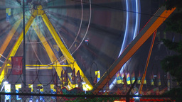HD2009-7-3-7 night midway rides color TL Stock Video Footage