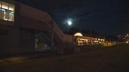 HD2009-7-3-9 night LRT stn TL Stock Video Footage