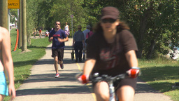 HD2009-7-8-14 bike walk path people Stock Video Footage