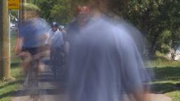 HD2009-7-8-16 bike walk path people TL Footage