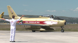 HD2009-7-10-31RC F86 sabre taxi Stock Video Footage