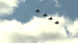 HD2009-6-1-5 F15 Eagle formation fly Stock Video Footage