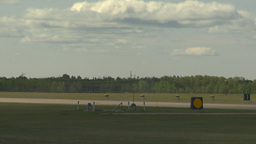 HD2009-6-1-9 F18 hornet landing through frame Stock Video Footage