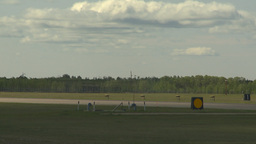 HD2009-6-1-9 F18 hornet landing through frame Stock Video Footage