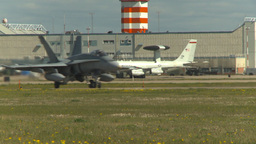 HD2009-6-1-11 F18 Hornet taxi E3a Stock Video Footage