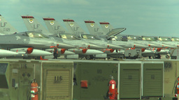 HD2009-6-1-29 F16s on the apron Stock Video Footage