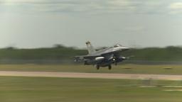 HD2009-6-2-52 F16 Falcon landing Stock Video Footage
