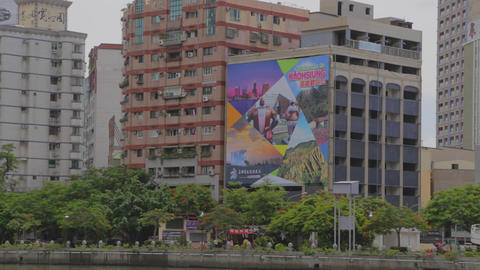 Welcome to Kaohsiung building poster at river Footage