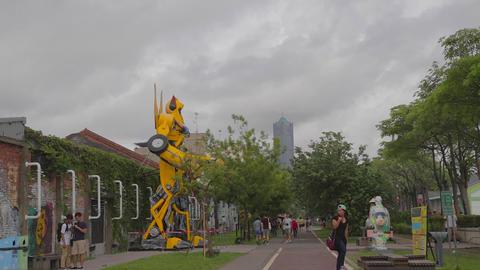 Pier-2 Art Center - West Coast Bike Path stock footage