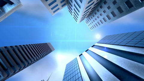 Skyscrapers on sky background Animation