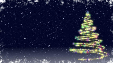 Christmas Tree Growing At Snowfall Night stock footage