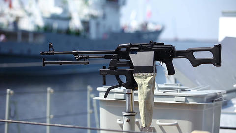 Machine gun on warship Footage