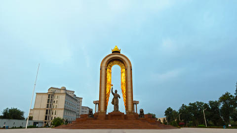 Statue of Somoni at dawn. Dushanbe, Tajikistan Footage