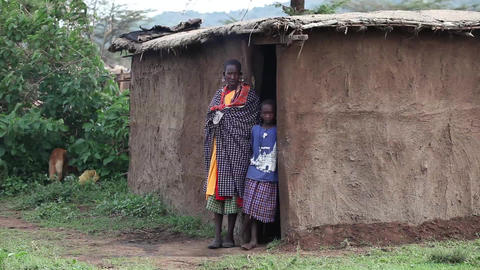 Mother and son. Maasai village. Kenya Footage