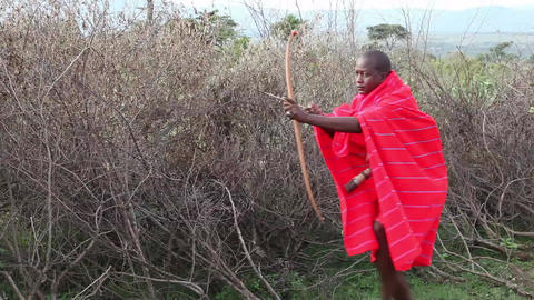 Young Hunter from Masai tribe in hunting Footage