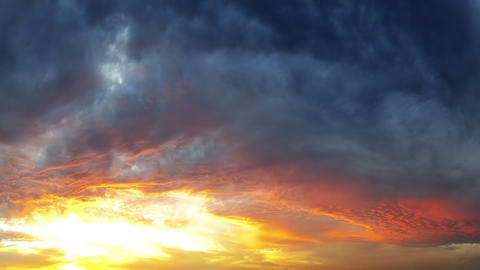 Sunset and Evening Clouds. Timelapse Footage
