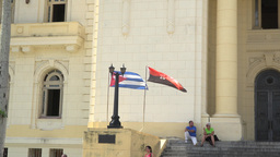 Cuban And July 26 Movement Flags stock footage