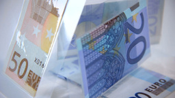 Close Up On Sculpture Of Foiled Euro Banknotes stock footage