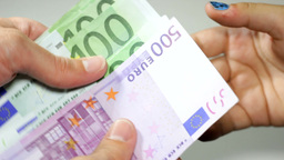 Counting Money - Big Euro Banknotes stock footage