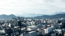 Ljubljana Cityscape And Mountains stock footage
