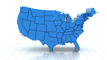 3d animation of USA map, loop with alpha matte for Footage