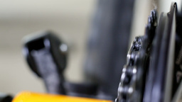 Cleaning And Oiling Bicycle Chain stock footage