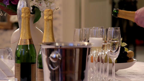 Steadily pouring champagne Footage