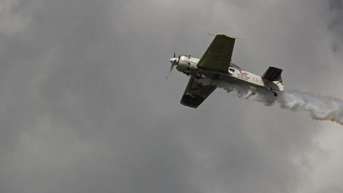 Plane Take Off Preparing To Sky-write stock footage