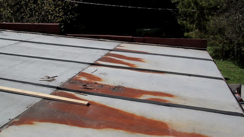 Rusty And Bended Roof stock footage