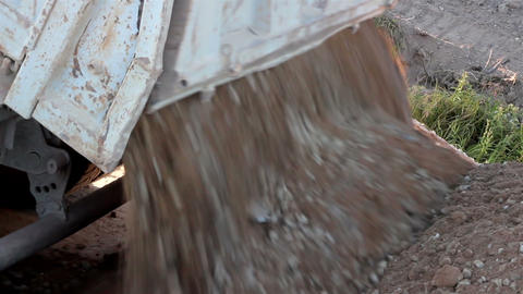 Truck full of Soil and gravel Unloaded Footage