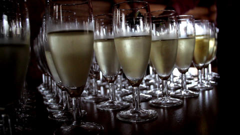A set of filled Champagne Glasses Footage