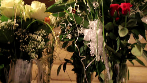 Bouquet of flowers arranged for an event Footage