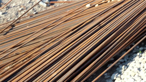 A Stack Of Iron Rods Used As Material In Construct stock footage