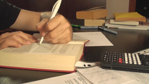 Tattooed Student Studying Late At Night, Exams, Ha Footage