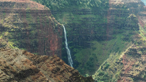 waipoo Falls in the waimea canyon, Kauai Hawaii Footage
