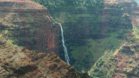 waipoo Falls in the waimea canyon, Kauai Hawaii Live Action