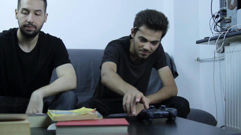 Lazy College Boys Playing On Game Console, Procras Footage