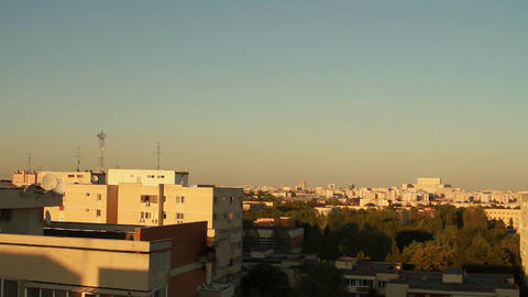 Aerial View Of Downtown, Sunset, Dawn, Sun, Sky, A stock footage