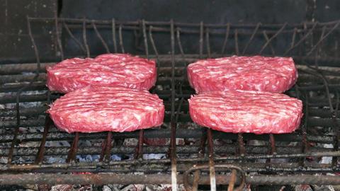 Hamburgers Cutlets Grilling on Grid Footage