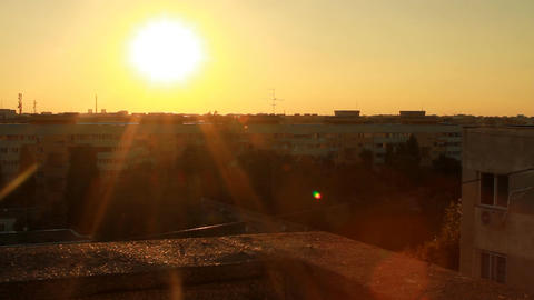 Beautiful Sunset Flare From A Top Of A Building, A Footage