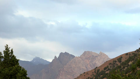 Clouds on a background of mountains. Pamir, Tajiki Footage