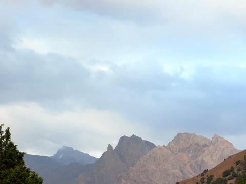 Clouds over the mountains, panorama. Pamir, Tajiki Footage
