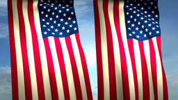 2 USA US Flags Closeup Waving Against Blue Sky CG stock footage
