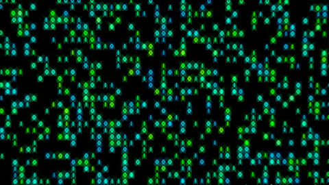 Data Stream Binary Glowing in Green Blue Loop Animation